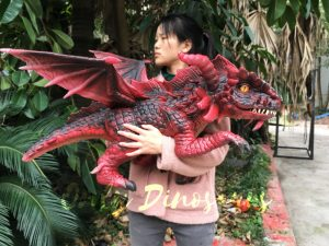 Hand Puppet Arm Hugging Magic Baby Dragon Red
