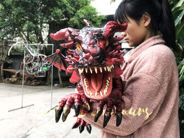 Hand Puppet Arm Hugging Magic Baby Dragon Red5 1