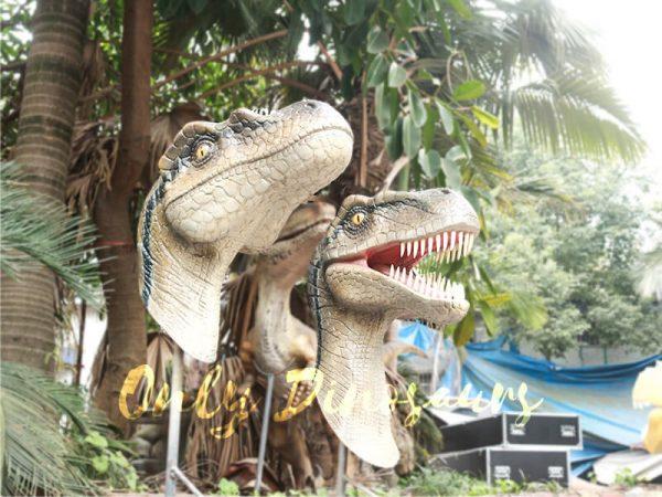 Highly Realistic Fiberglass Statues Velociraptor Head4 1