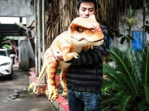 Lifelike Baby Dinosaur Orange Puppet for Interactive Performer