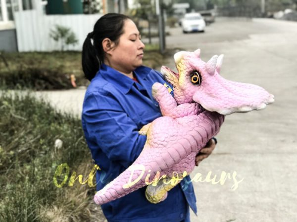Lifelike Triceratops Baby Hand Puppet Pink3 1