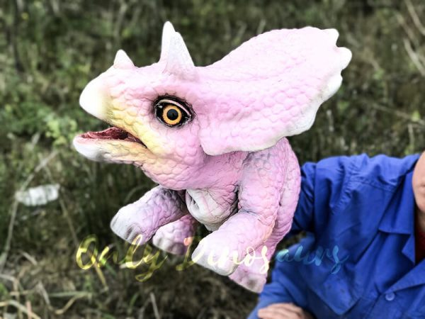 Lifelike Triceratops Baby Hand Puppet Pink4 1