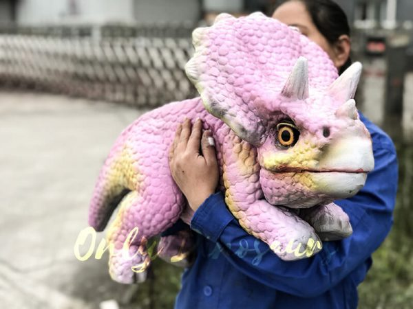 Lifelike Triceratops Baby Hand Puppet Pink5 1