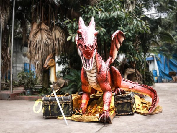 Mysterious Dragon Animatronic with Treasure Chest Gold2 1
