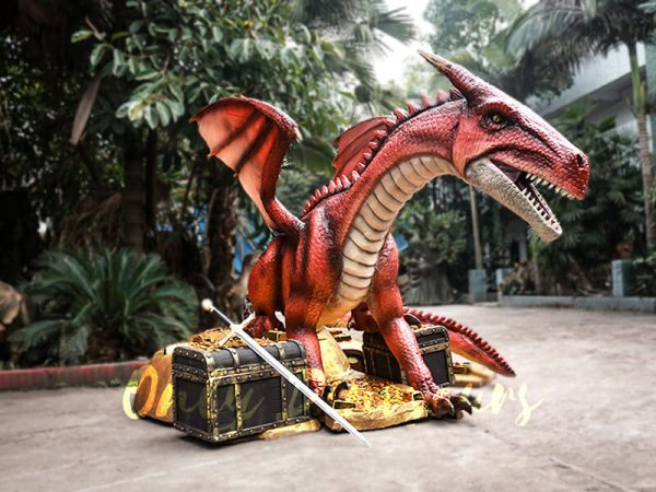 Mysterious Dragon Animatronic with Treasure Chest Gold3 1