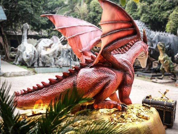 Mysterious Dragon Animatronic with Treasure Chest Gold4 1