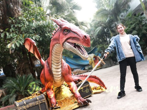 Mysterious Dragon Animatronic with Treasure Chest Gold6 1