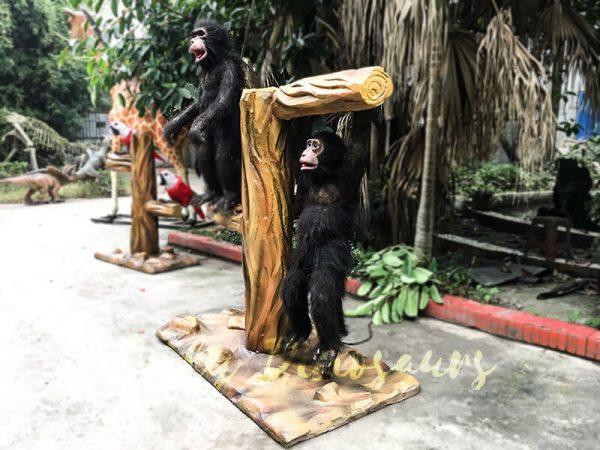 Park Attraction Black Animatronic Monkey with stump1 1