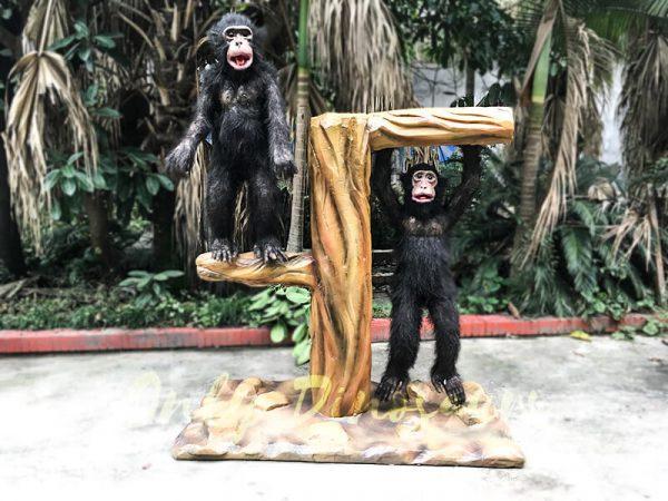 Park Attraction Black Animatronic Monkey with stump3 1