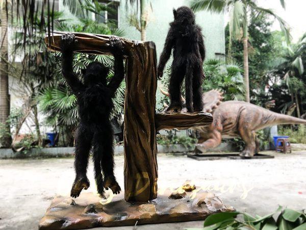 Park Attraction Black Animatronic Monkey with stump4 1