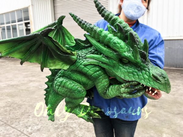 Realistic Baby Dragon Puppet in Green1
