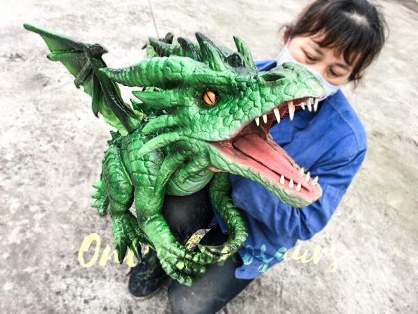 Realistic Baby Dragon Puppet in Green5 1