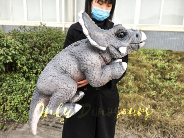 Realistic Baby Triceratops Hand Puppet Manually Controlled Puppet2 1