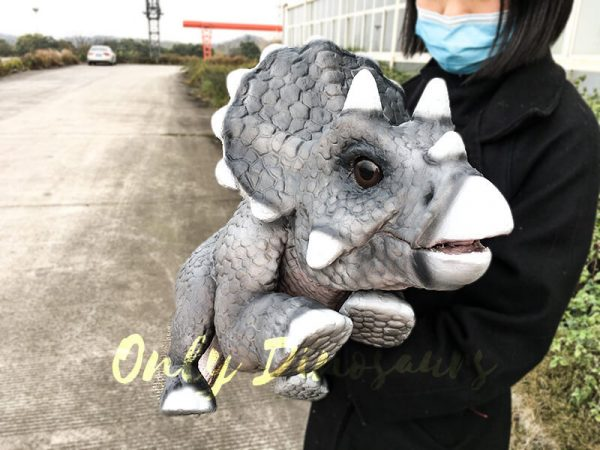 Realistic Baby Triceratops Hand Puppet Manually Controlled Puppet3 1