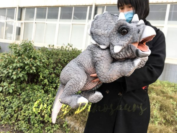 Realistic Baby Triceratops Hand Puppet Manually Controlled Puppet4 1