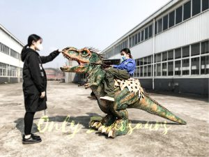 Realistic Ride-On T-Rex Costume with Feathers