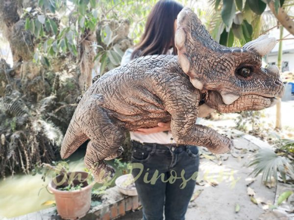 Realistic Triceratops Baby Puppet of Jurassic World Dark Brown1 1