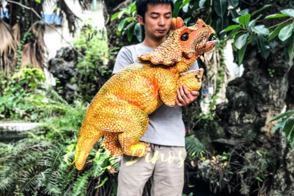 Vivid Baby Triceratops Dinosaur Puppet Orange1 1