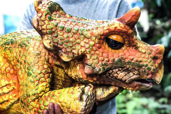 Vivid Baby Triceratops Dinosaur Puppet Orange2 1
