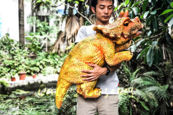 Vivid Baby Triceratops Dinosaur Puppet Orange3 1