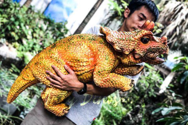 Vivid Baby Triceratops Dinosaur Puppet Orange4 1