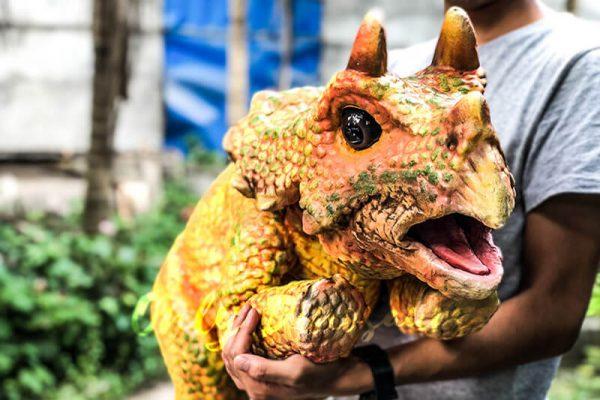 Vivid Baby Triceratops Dinosaur Puppet Orange5 1