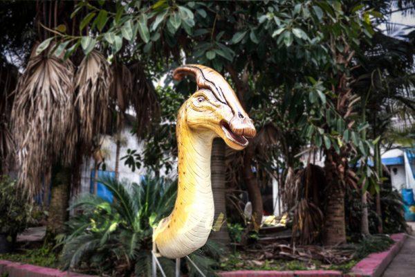 Lifesize Fiberglass Statue Parasaurolophus Head3