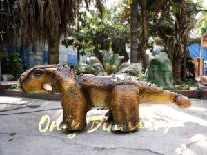 Park Dinosaur Rides Ankylosaur in Yellow