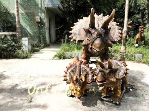 Realisitc Animatronic Triceratops Two babies One Adult4