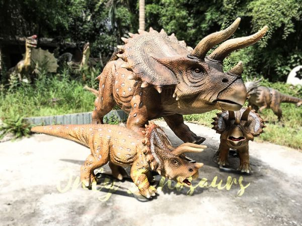 Realisitc Animatronic Triceratops Two babies One Adult5