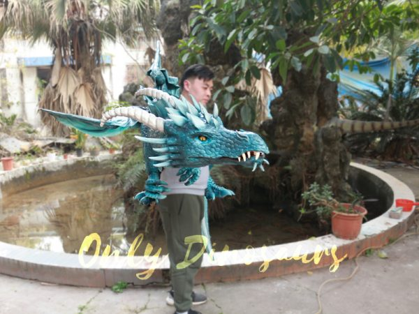 Special-Dragon-Body-Puppet-Great-Attraction-For-Park-Acting-Blue