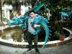 Special Dragon Body Puppet Great Attraction for Park Acting Blue