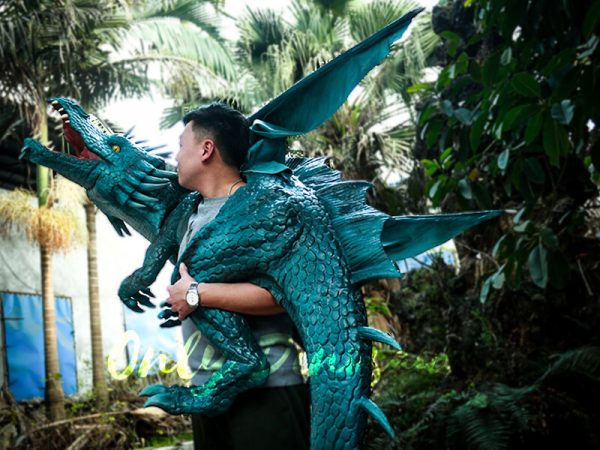 Special Dragon Body Puppet Great Attraction for Park Acting Blue2