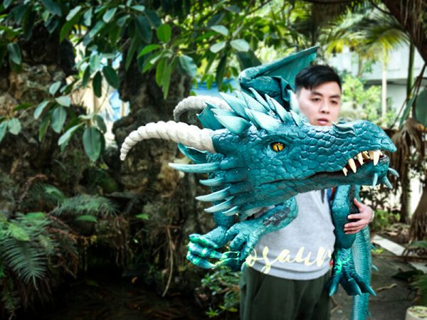 Special Dragon Body Puppet Great Attraction for Park Acting Blue3