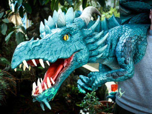 Special Dragon Body Puppet Great Attraction for Park Acting Blue4