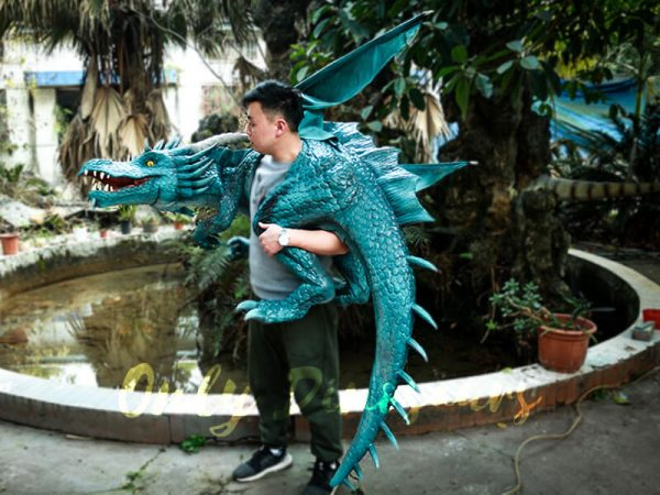 Special Dragon Body Puppet Great Attraction for Park Acting Blue5