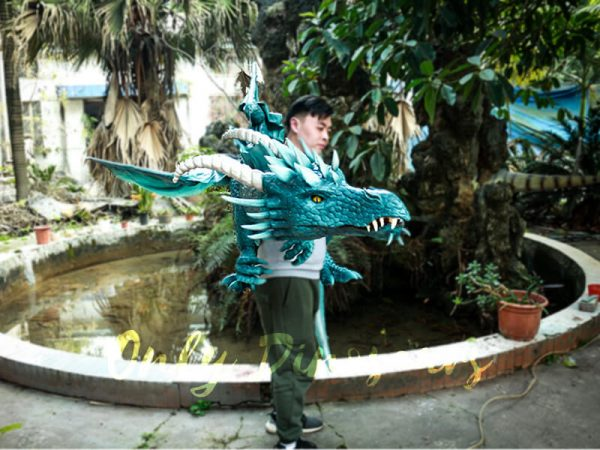 Special Dragon Body Puppet Great Attraction for Park Acting Blue6