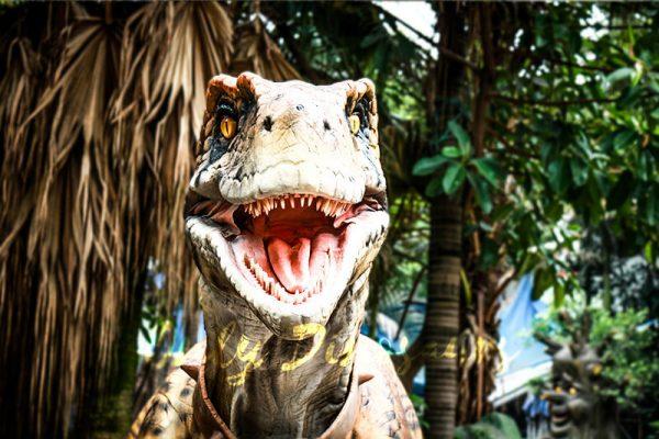 Stripe Realistic Dinosaur Suit for Park Attention5