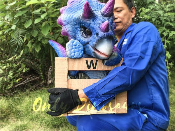Blue Purple Crated Triceratops Puppet1