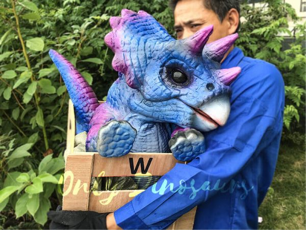 Blue Purple Crated Triceratops Puppet2