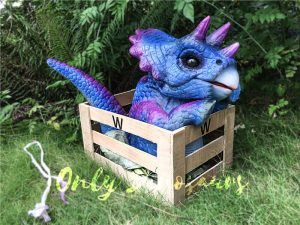 Blue & Purple Crated Triceratops Puppet