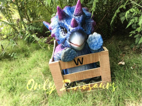 Blue Purple Crated Triceratops Puppet4