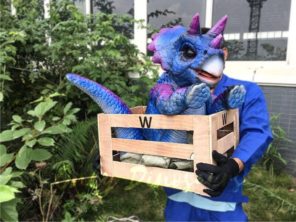 Blue Purple Crated Triceratops Puppet5