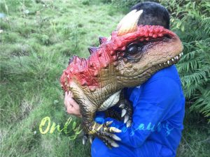 Cute Realistic Puppets Carnotaurus in Red & Brown