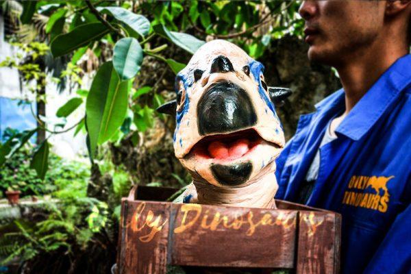 Dinosaur Stygimoloch Crate Puppet Blue Spot4