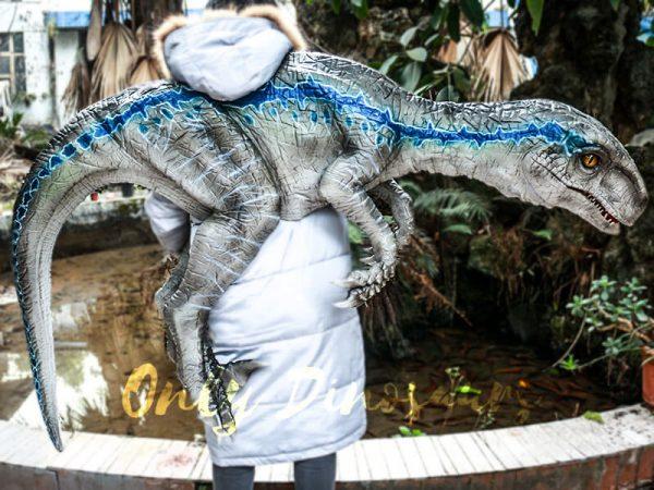 Juvenile Blue Velociraptor Puppet Shoulder Puppet5