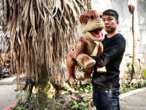 Kids Attraction Dinosaur Arm Puppet Orange Stripe