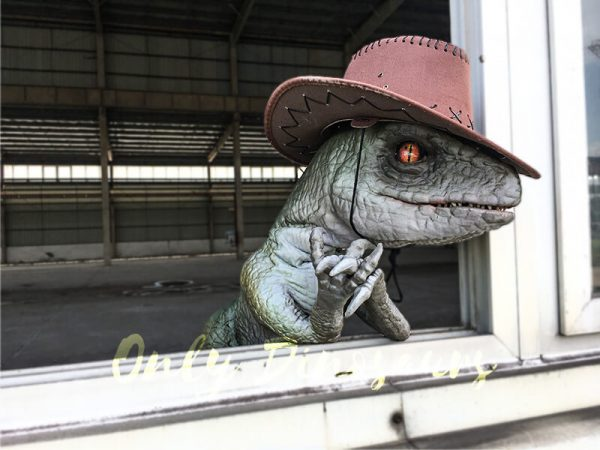 Realistic Dinosaur Puppet Cowboy Raptor baby1