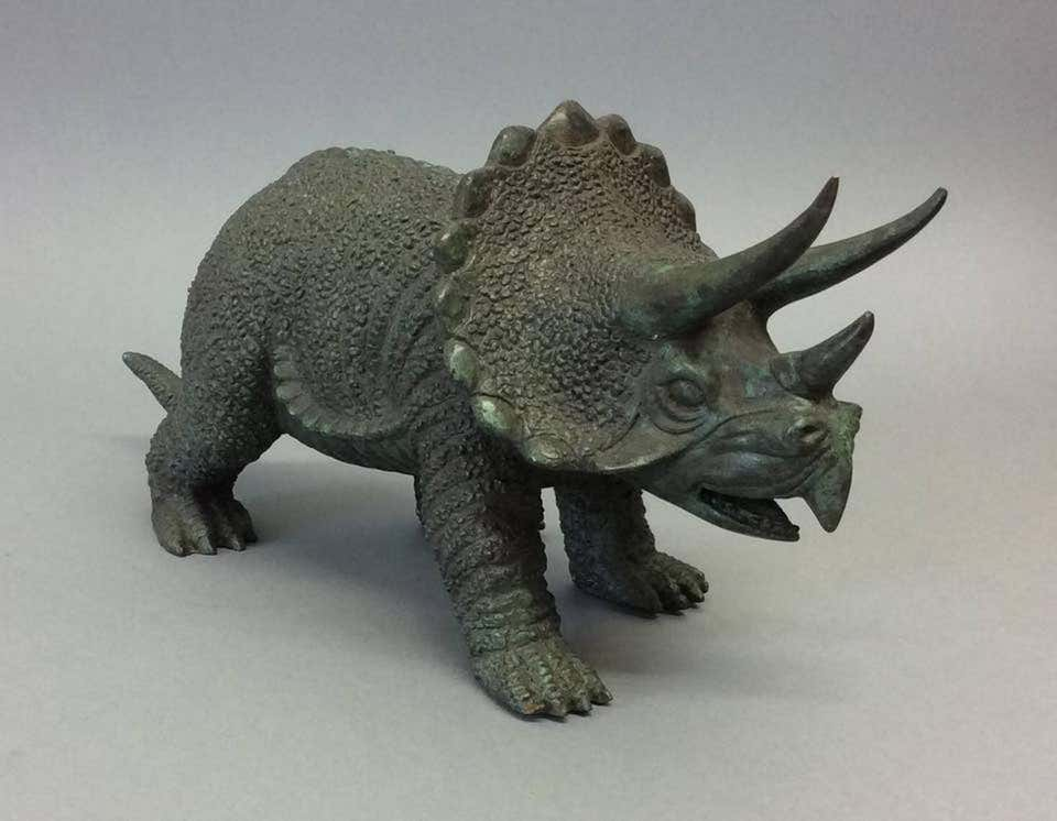 20th-Century-Bronze-Figure-of-a-Triceratops