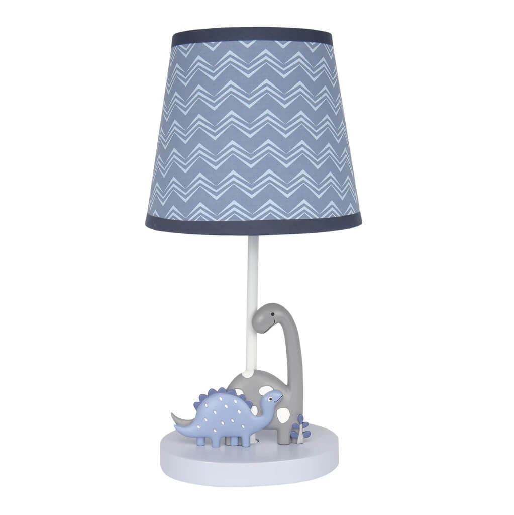 Gray-Dinosaur-Nursery-Lamp-with-Shade-Bulb